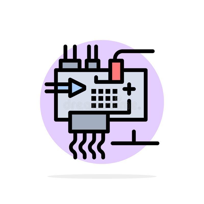 聚集,定做,电子,工程学,零件提取圈子背景平的颜色象 向量例证