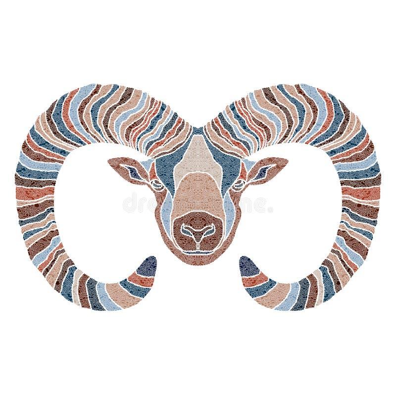 聪慧的Ram,黄道带白羊星座标志 免版税库存图片