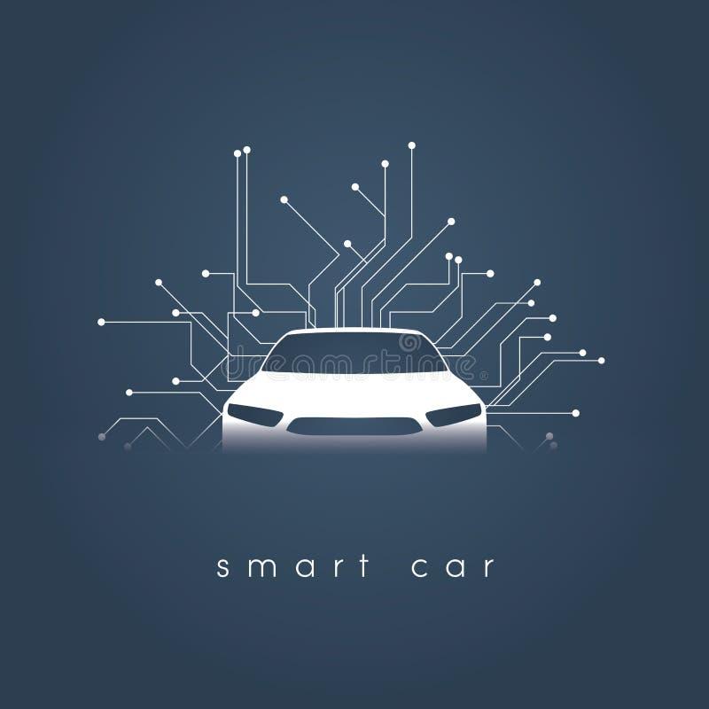 聪明或聪明的汽车传染媒介概念 与自治驾驶,无人驾驶的汽车的未来派汽车技术 向量例证