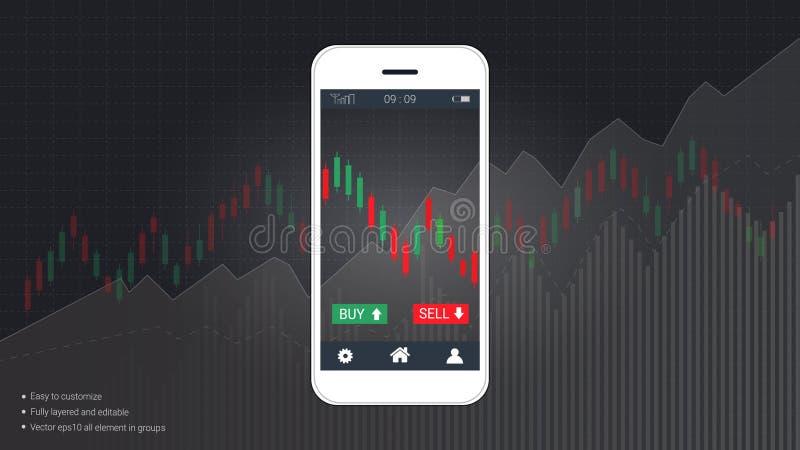 聪明电话屏幕显示财政和烛台图表绘制爬上介绍模板图表 向量例证