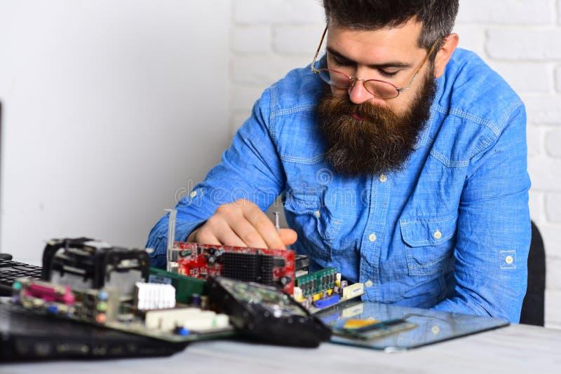 聪明的专业人员 有胡子的人修理电路板 工程师或技术员在工作 有胡子的行家在定象工作 库存图片