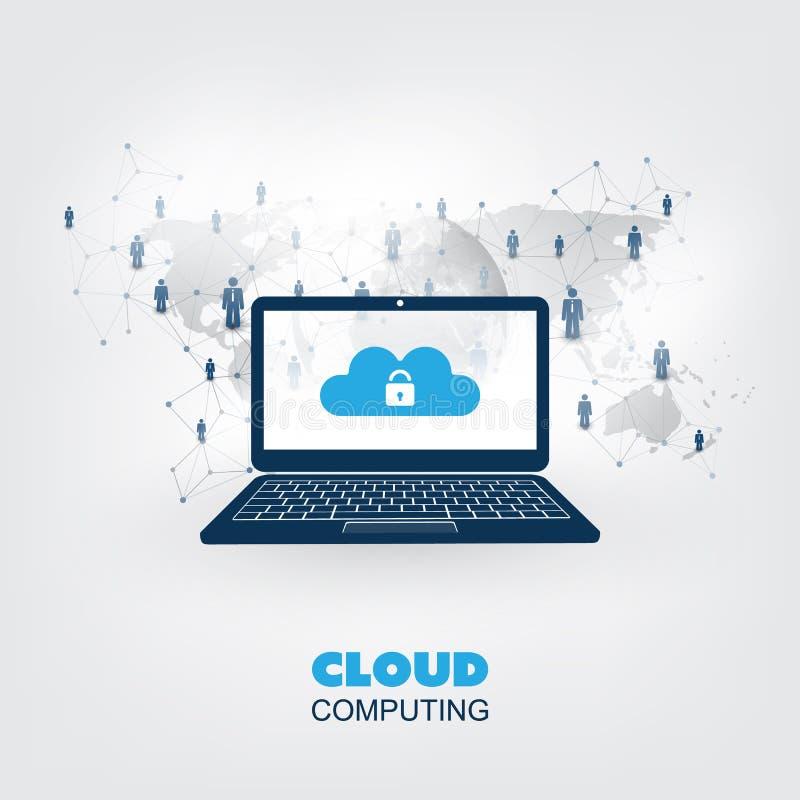 聪明的事城市、互联网或云彩计算的设计观念-数字网连接,技术背景 向量例证