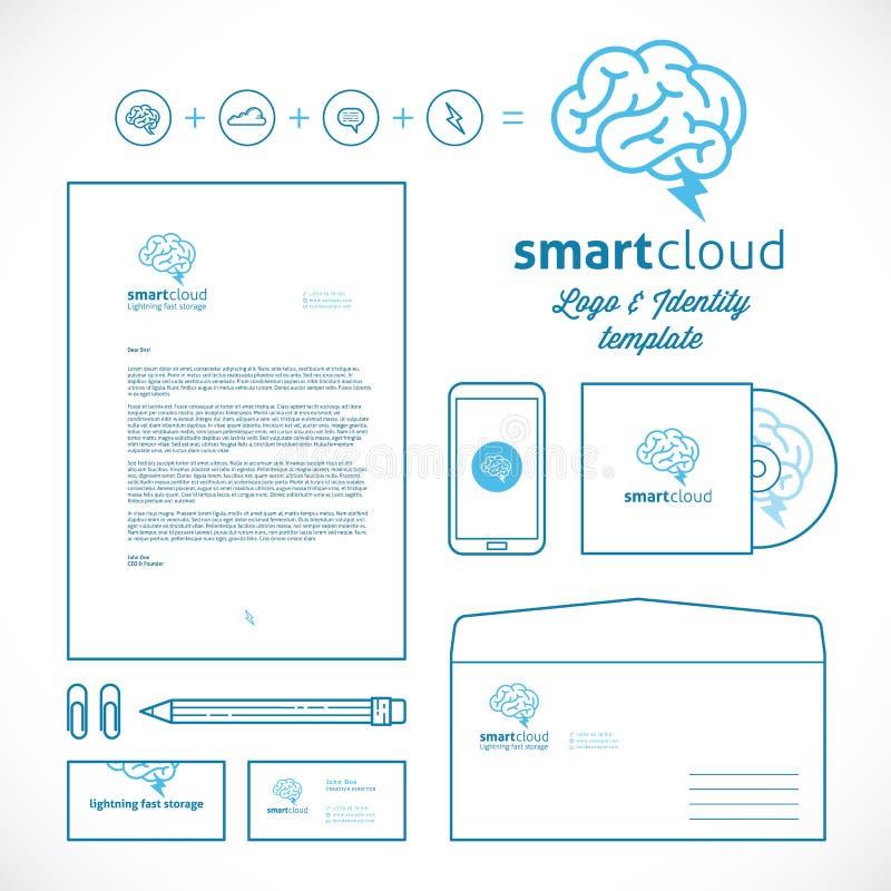 聪明的云彩商标和身分模板 向量例证