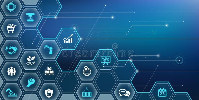 聪明的公司/企业挑战设计与各种各样的被连接的企业标志–传染媒介例证 库存例证
