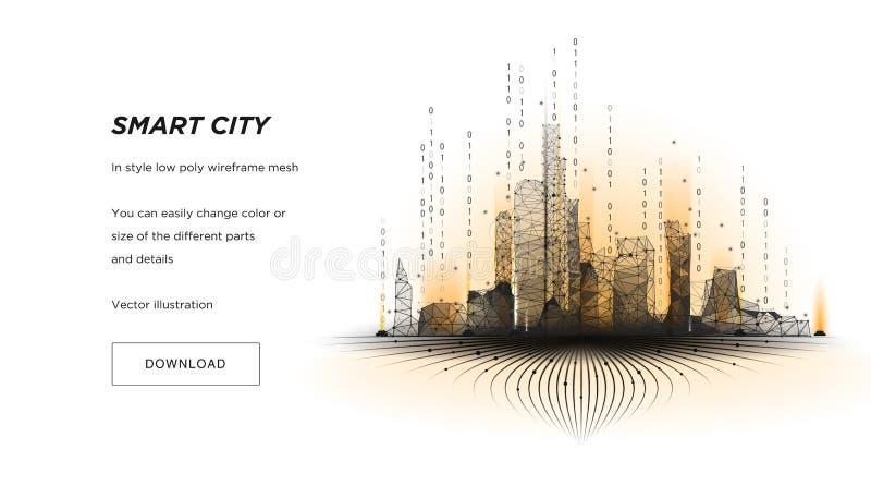 聪明的城市低多wireframe 城市高科技摘要或大都会 聪明的大厦自动化系统企业概念 向量例证