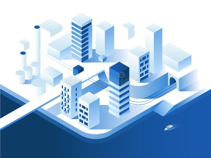 聪明的城市技术 简单的低多建筑学 3d传染媒介等量例证 库存例证
