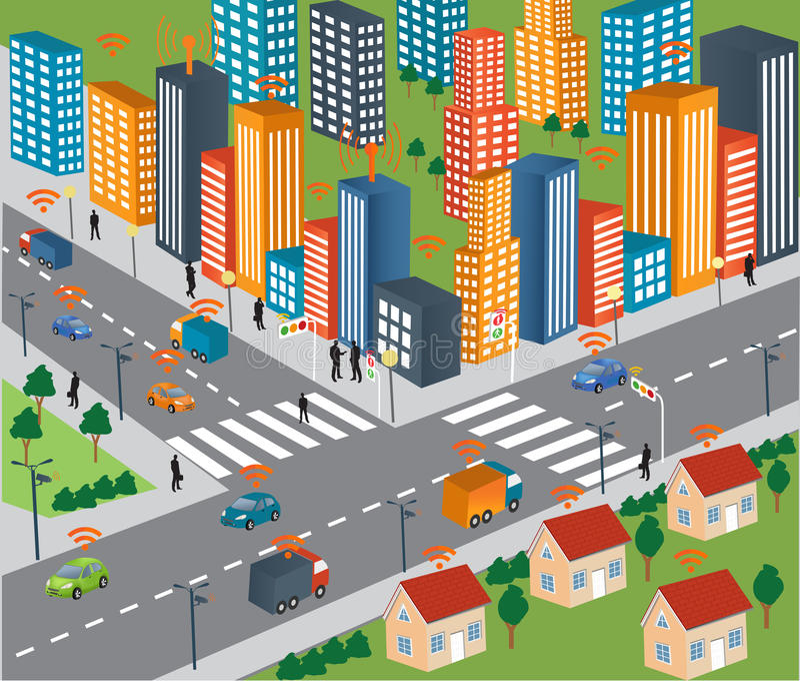 聪明的城市概念和车无线网络  向量例证