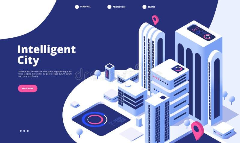 聪明的城市概念 都市数字创新办公室未来城市真正镇路聪明的摩天大楼3d等量着陆 库存例证