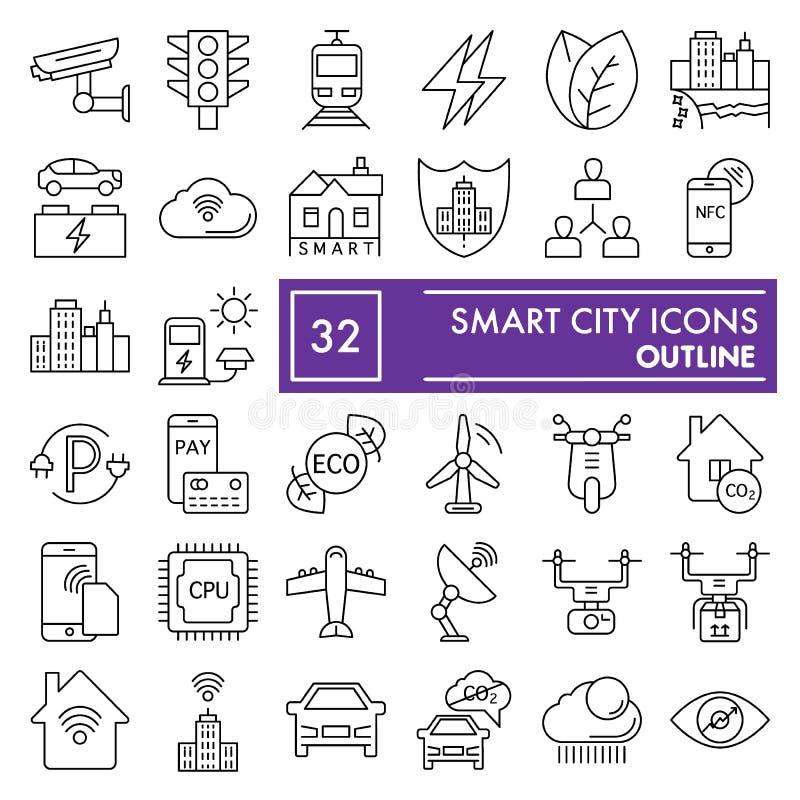 聪明的城市稀薄的线象集合,通信标志汇集,传染媒介剪影,商标例证,线性都市的标志 向量例证