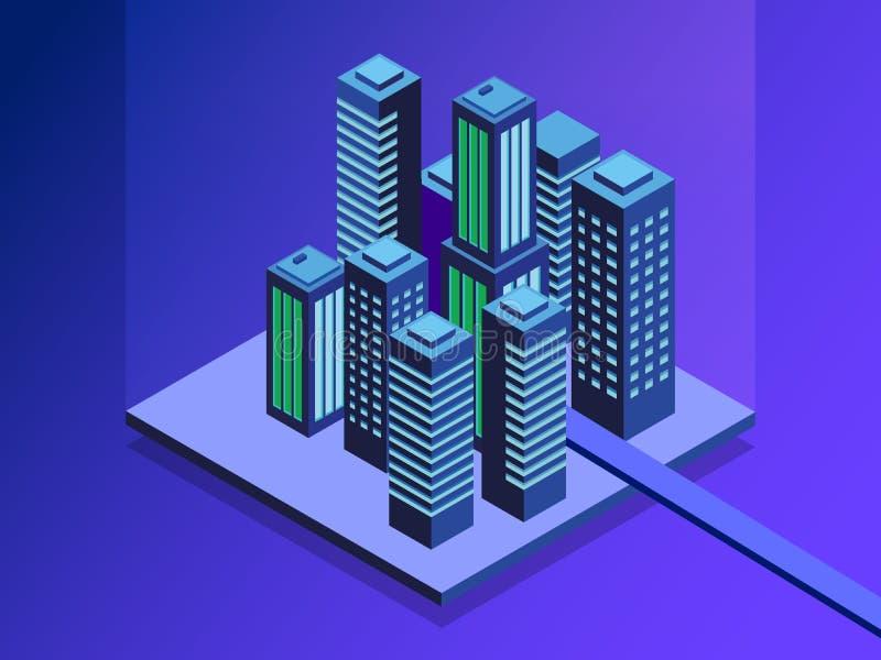 聪明的城市等量例证 聪明的大厦 城市的街道被连接到计算机网络 互联网  向量例证