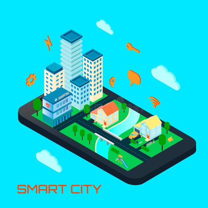聪明的城市等量设计观念 库存例证
