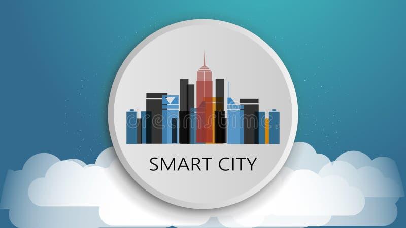 聪明的城市设计观念 网络连接,五颜六色的技术背景 向量例证