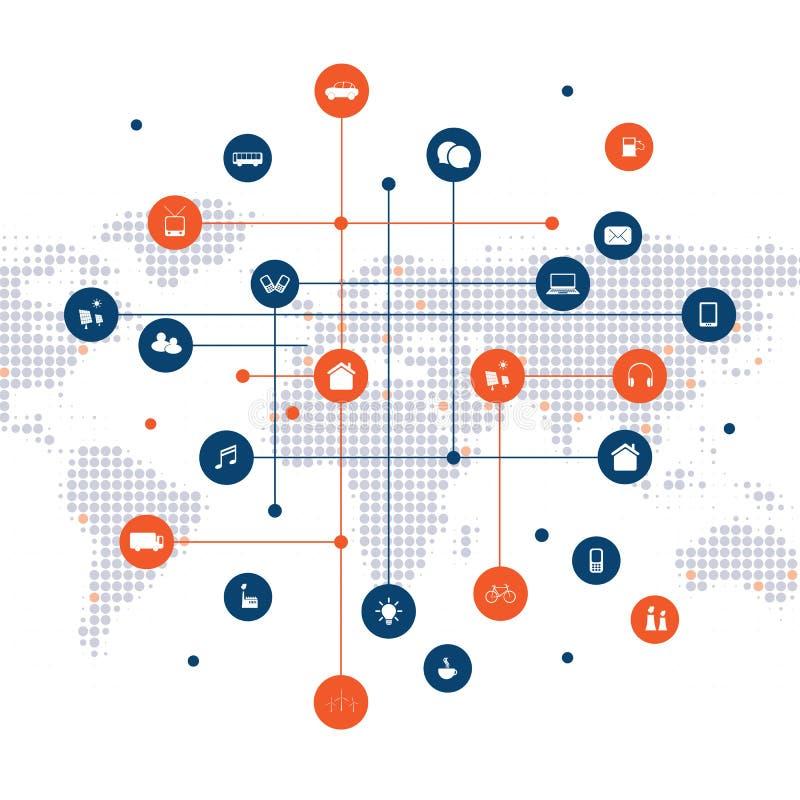 聪明的城市,与象-数字网连接,与网络滤网的技术背景的云彩计算的设计观念 皇族释放例证