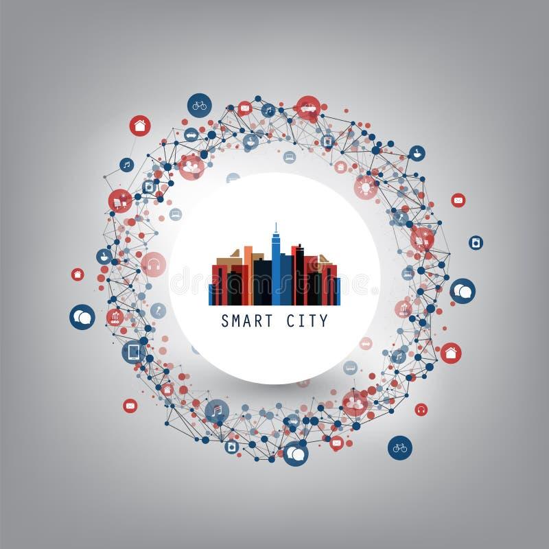 聪明的城市,与象-数字网连接,与网络滤网的技术背景的云彩计算的设计观念 向量例证