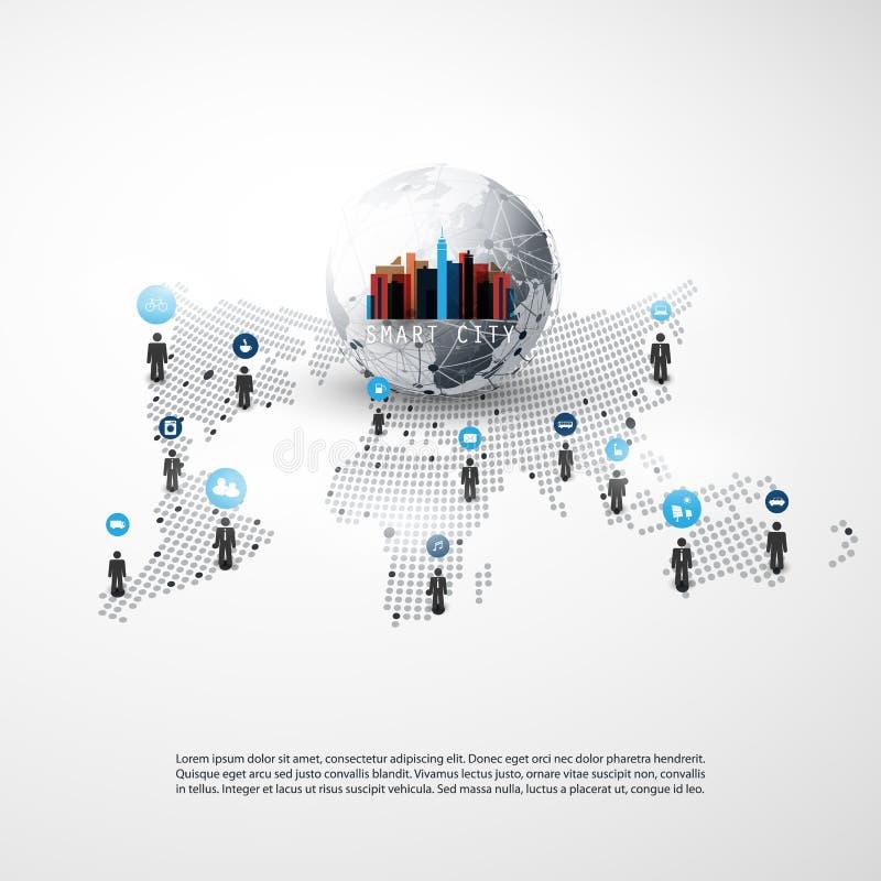 聪明的城市-网络-商务联系-社会媒介构思设计 向量例证
