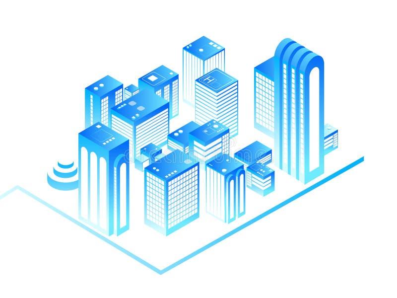聪明的城市 3d与住宅等量大厦的都市地图 新房技术和被增添的现实传染媒介概念 向量例证
