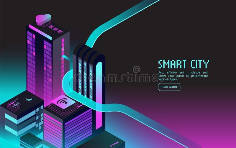 聪明的大厦 聪明的房子在夜城市 被增添的现实3d等量抽象未来派传染媒介概念 库存例证