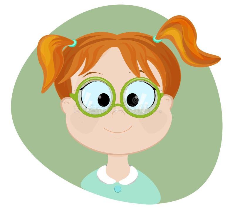 聪明的女孩 平的例证 免版税库存照片