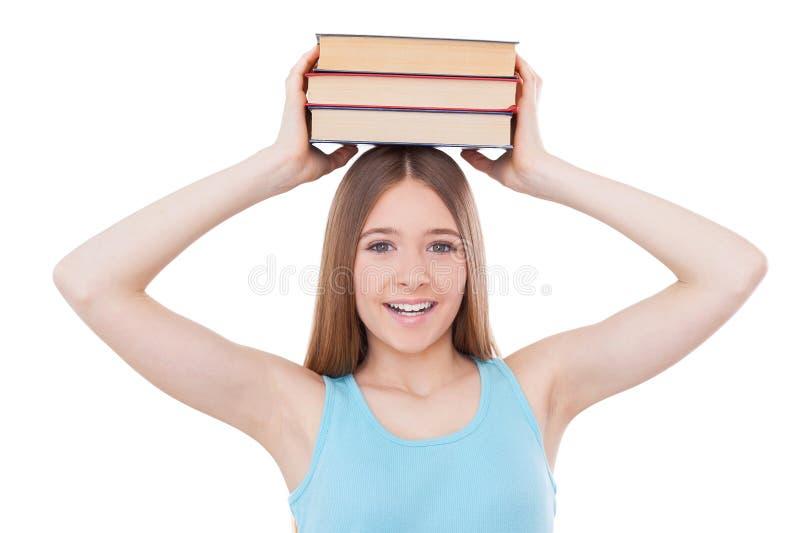 聪明的女小学生 免版税图库摄影