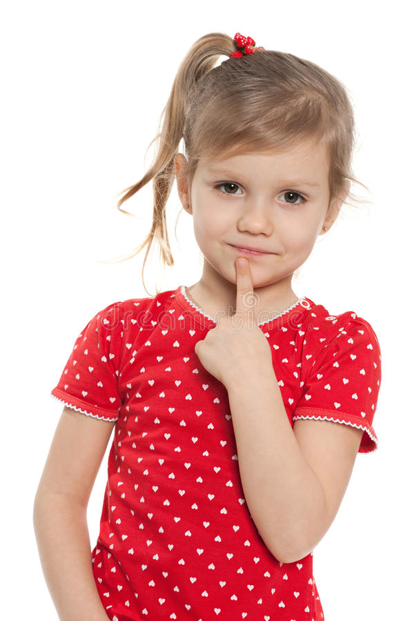 聪明的学龄前女孩 库存照片