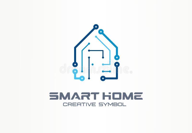 聪明的家庭创造性的标志技术概念 安全自动化在抽象企业建筑商标的大厦系统 皇族释放例证