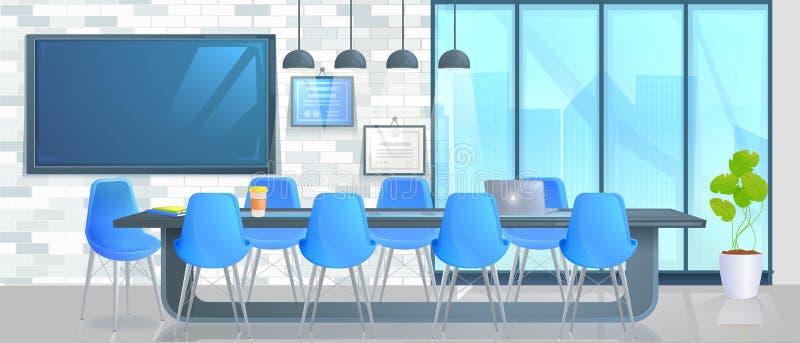 聪明的家庭办公室横幅 有控制屏幕和手的现代会议室 库存例证