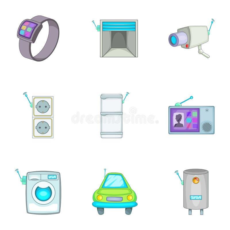 聪明的家庭探测器象设置了,动画片样式 向量例证