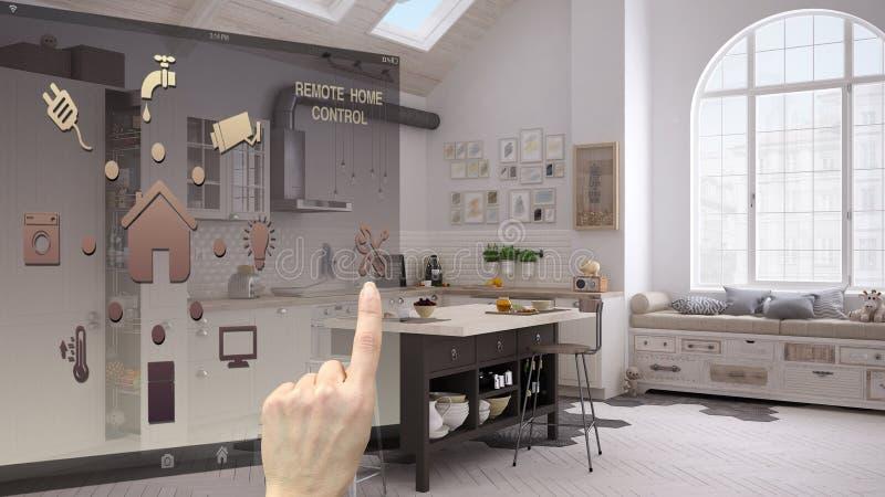 聪明的家庭控制概念,控制从流动app的手数字接口 被弄脏的背景陈列当代厨房 免版税库存图片