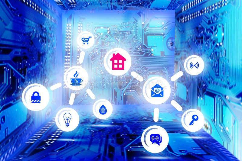 聪明的家庭概念,与具体象和抽象蓝色背景从计算机主板 皇族释放例证