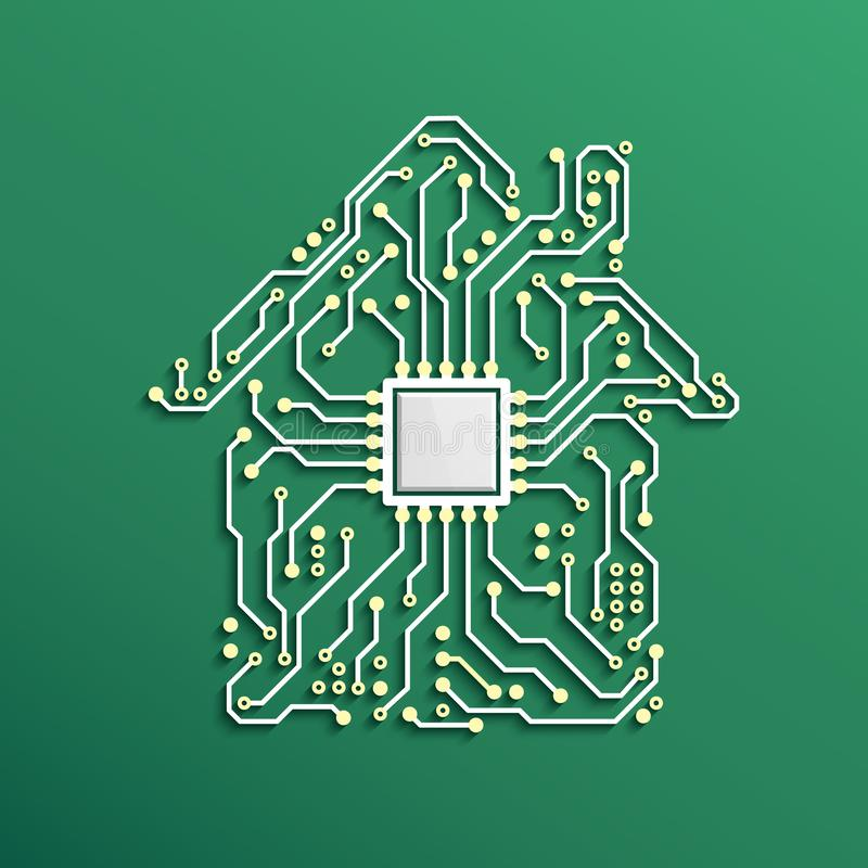 聪明的家庭概念 有里面CPU的电路议院 未来技术背景 也corel凹道例证向量 向量例证