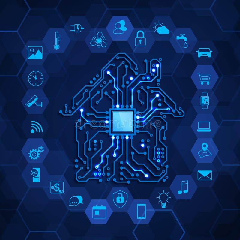 聪明的家庭概念 未来技术创新 议院电路和聪明的房子作用象 在蓝色的传染媒介例证 库存例证