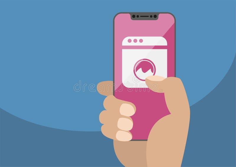 聪明的家庭自动化概念用拿着刃角少的智能手机的手 与洗衣机象的传染媒介例证 向量例证