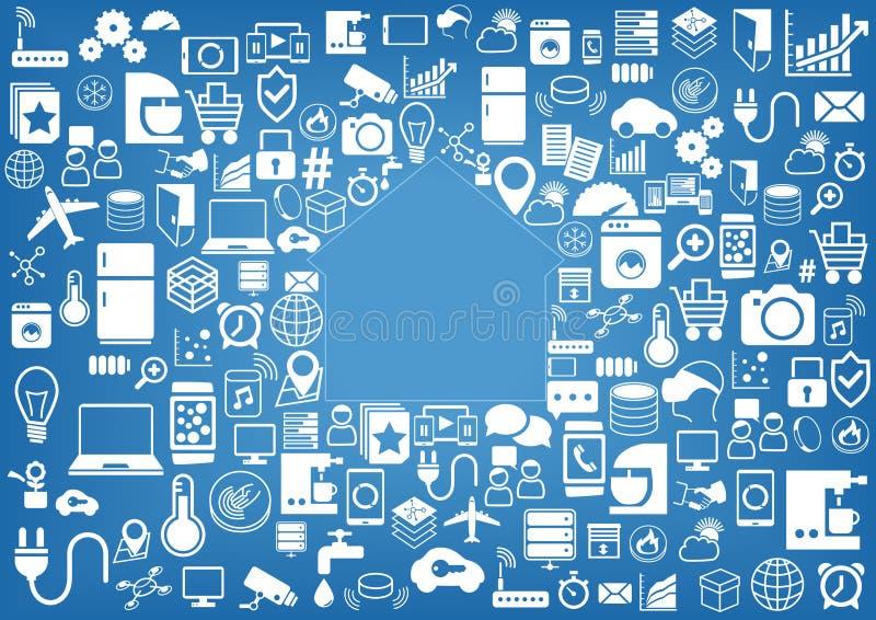 聪明的家庭自动化背景 象/标志各种各样的设备和传感器的 库存例证