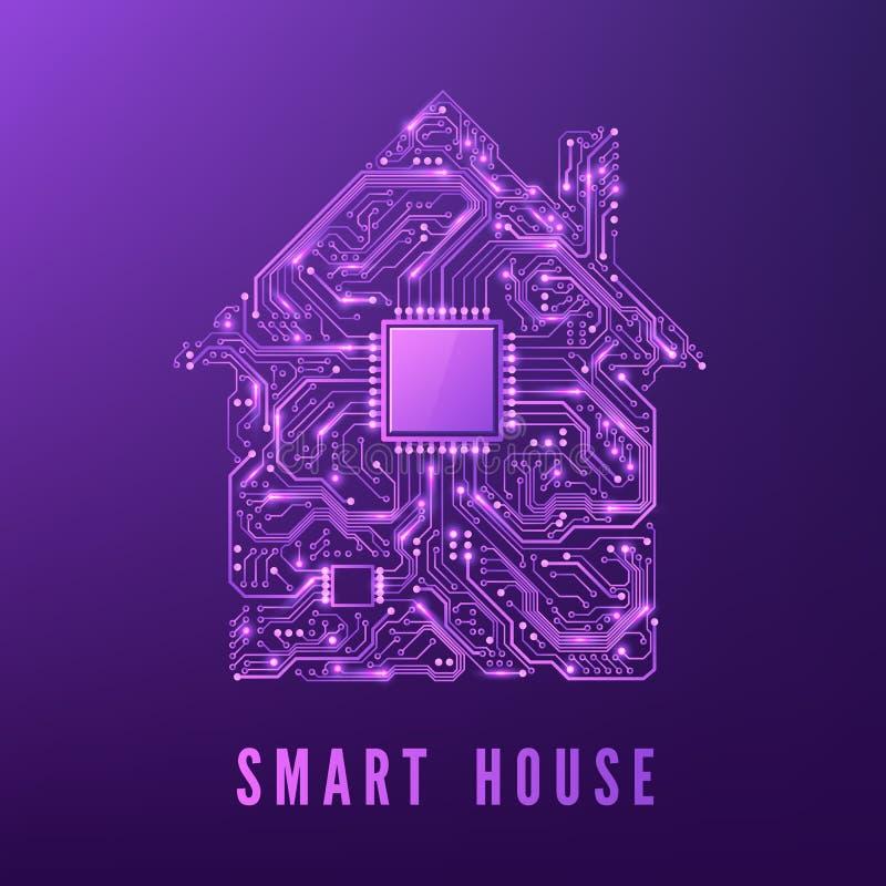 聪明的家或IOT概念 有CPU的紫色电路议院 未来和创新技术背景 也corel凹道例证向量 向量例证