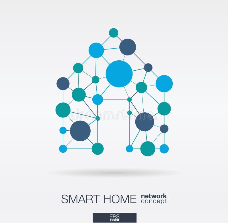 聪明的家联合稀薄的线和圈子 数字式神经网络概念 库存例证