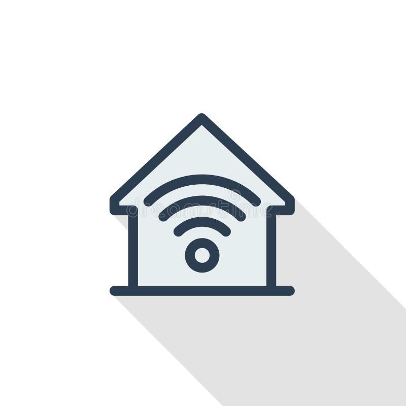 聪明的家,无线技术,数字式房子稀薄的线平的象 线性传染媒介标志五颜六色的长的阴影设计 皇族释放例证