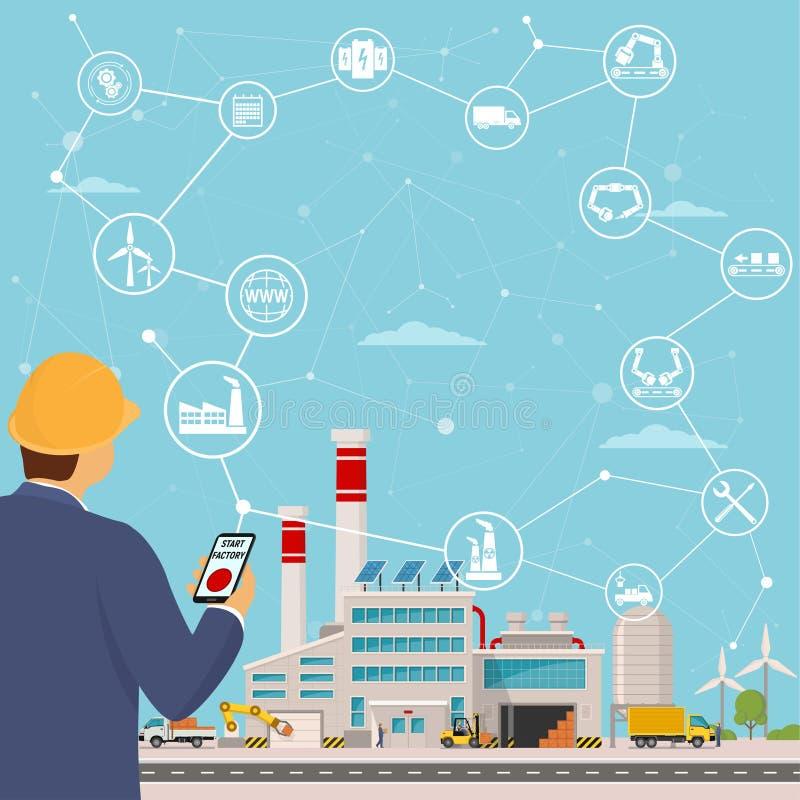 聪明的工厂和在它附近象设计开始一棵聪明的植物 聪明的工厂或事工业互联网  传染媒介illustra 向量例证