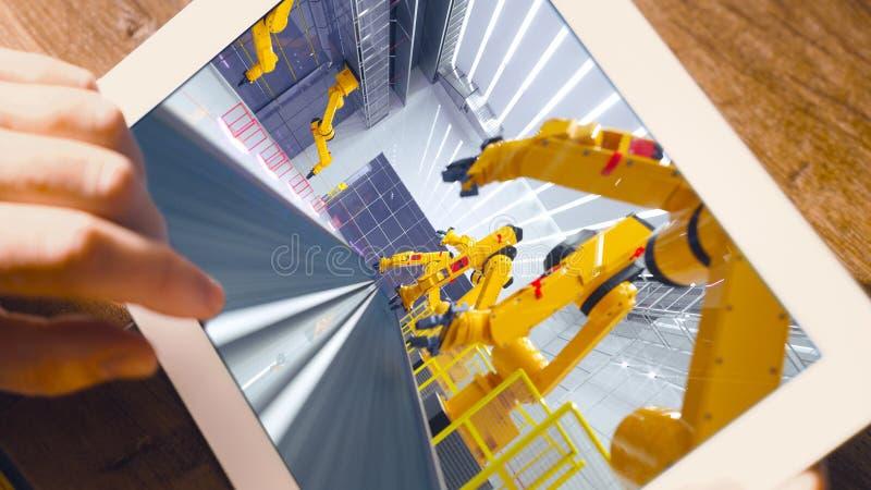 聪明的工厂,有机器人胳膊的现代自动化的生产设备 免版税库存图片