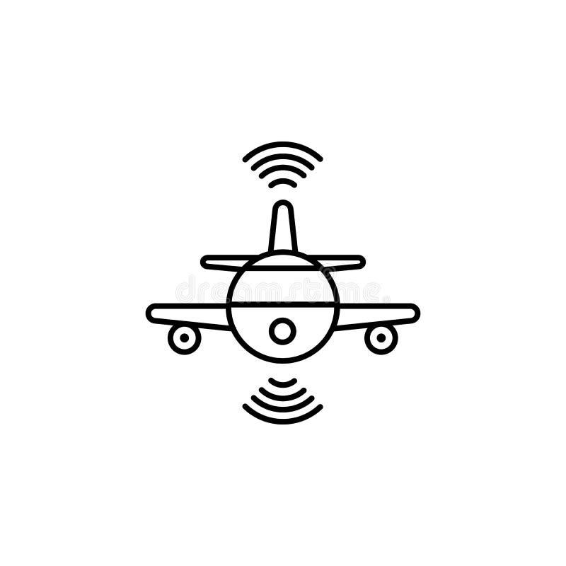 聪明的平面飞行概念线象 简单的元素例证 从artificia的聪明的平面飞行概念概述标志设计 库存例证