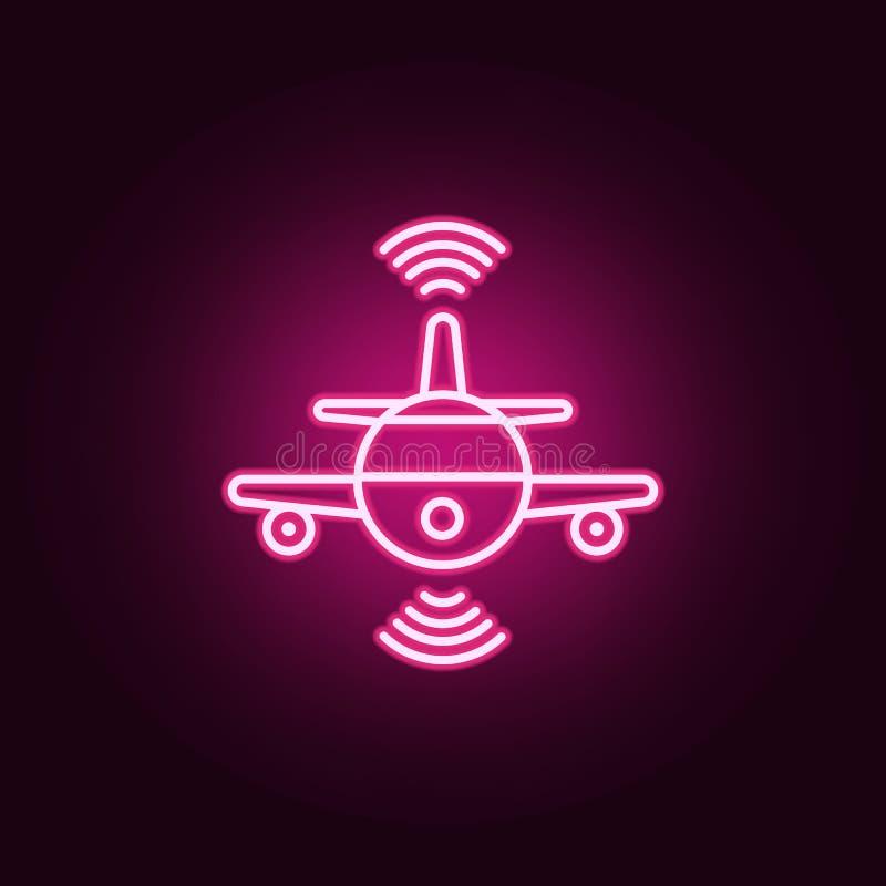 聪明的平面飞行霓虹象 人工智能集合的元素 网站的简单的象,网络设计,流动应用程序,信息 向量例证