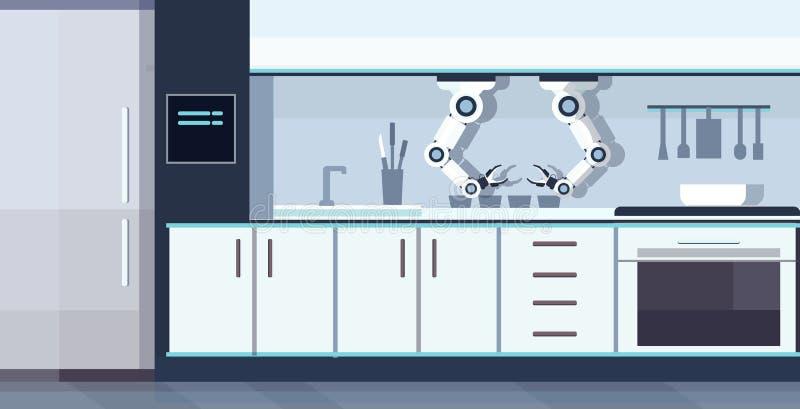 聪明的得心应手的厨师机器人辅助自动化机器人创新技术人工智能概念现代厨房 皇族释放例证