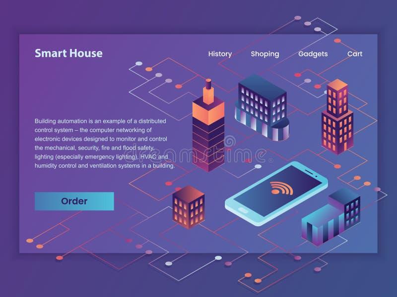 聪明的房子传染媒介第一个屏幕例证网 库存例证
