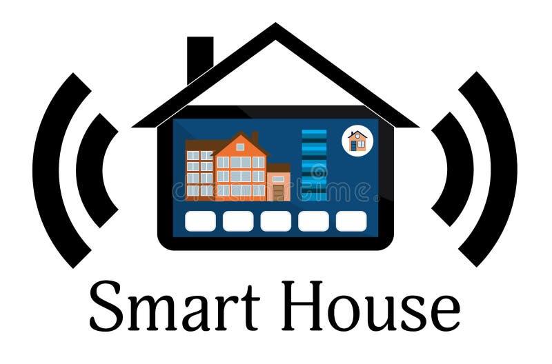 聪明的房子技术系统的概念与集中化contro的 向量例证