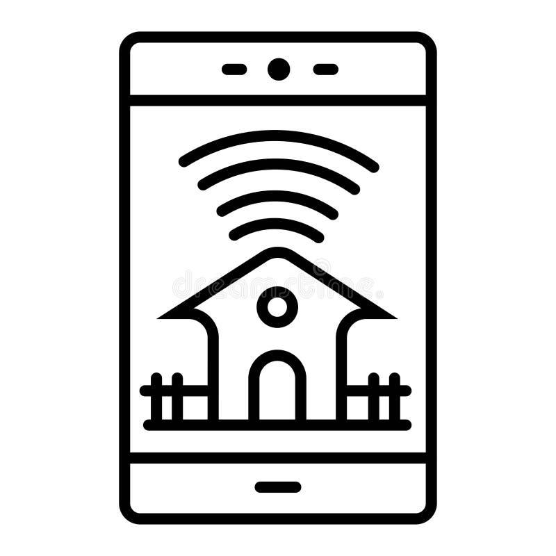 聪明的房子,家庭自动化,有应用程序象的设备 向量例证