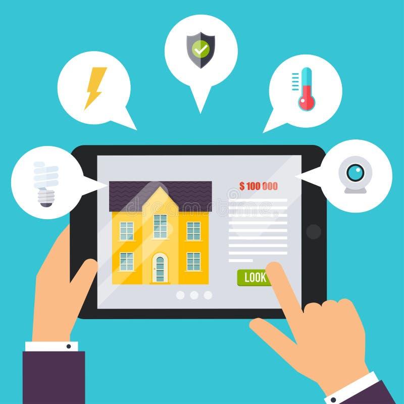聪明的房子 家庭控制应用概念 拿着tabl的手 皇族释放例证