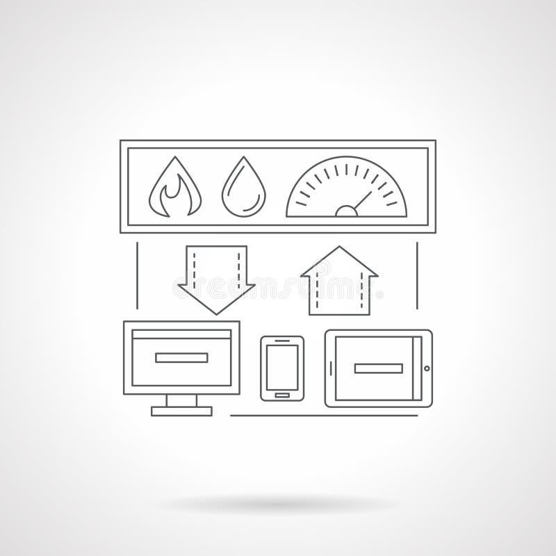 聪明的房子系统详细的平的线象 向量例证