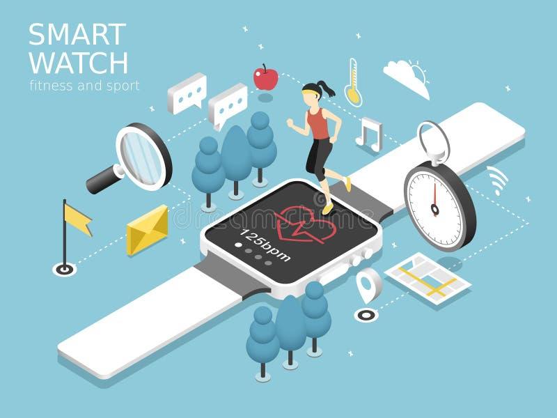 聪明的手表健身和体育概念 向量例证
