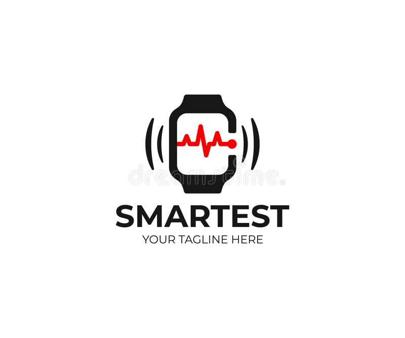 聪明的手表和心跳线商标模板 Smartwatch和脉冲传染媒介设计 库存例证