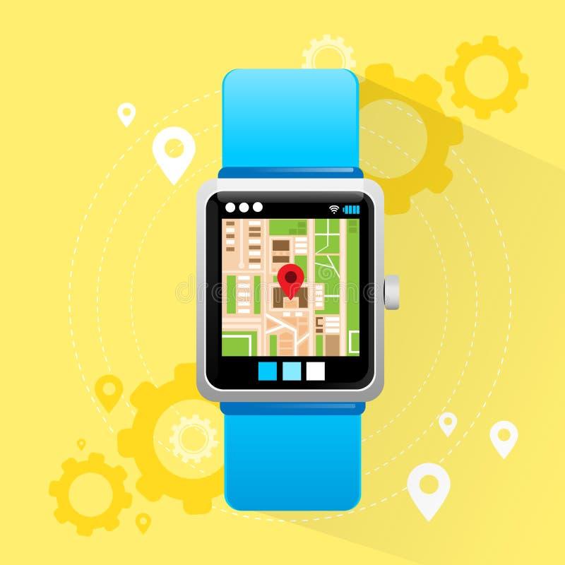 聪明的手表应用城市地图航海 向量例证