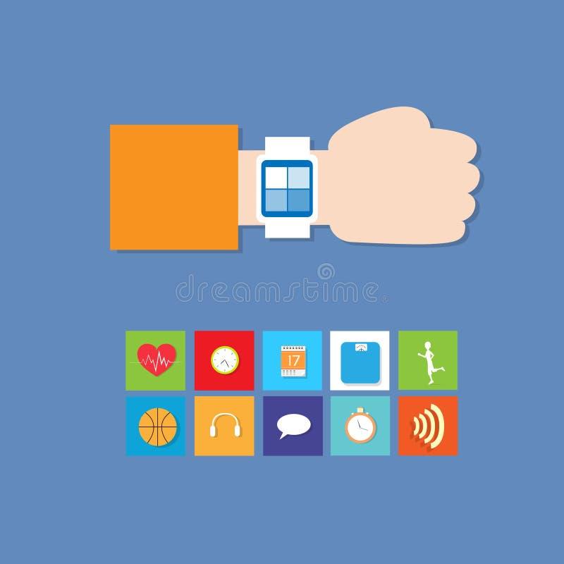 聪明的手表技术电子设备阿普斯 皇族释放例证